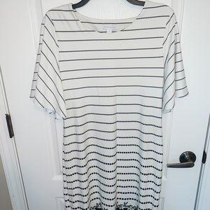 Black and white dot striped dress